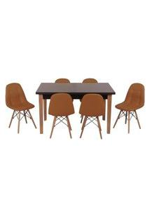 Conjunto Mesa De Jantar Luiza 135Cm Preta Com 6 Cadeiras Botonê - Marrom