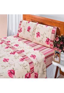 Jogo De Cama Bia Enxovais Casal Queen Requinte 4 Peças Percal 180 Fios Floral Vermelho