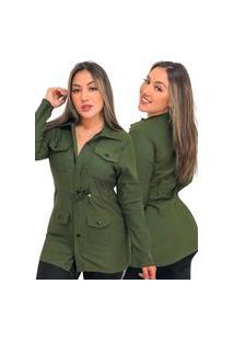 Kit 2 Casacos Jaqueta Parka Feminino Fec Fashion Bengaline Manga Longa Verde Militar