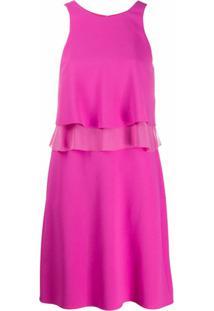 Emporio Armani Vestido Com Detalhe De Babados - Rosa