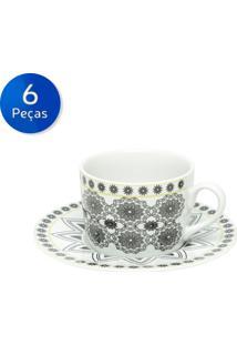 Conjunto De Xícaras Para Chá Com Pires 6 Peças 200 Ml Kaleidoscope-Bon Gourmet - Branco