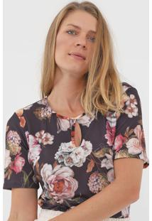 Blusa Lança Perfume Floral Preta - Kanui