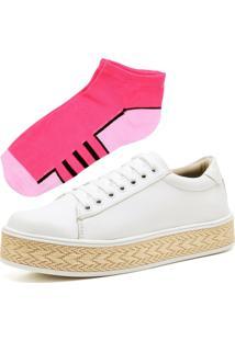 Tênis Ousy Shoes Flatform Palha Branco