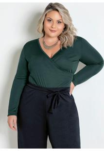 Body Verde Escuro Transpassado Plus Size
