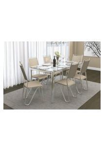 Conjunto Mesa Reno Com 6 Cadeiras Londres Nude E Cromado Kappesberg Crome Prata/Off-White