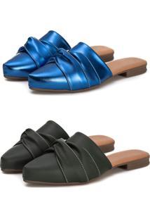 Kit Sapatilha Mule Slip Feminino Confort Bico Fino Preto/Azul Metalizado