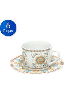 Conjunto De Xícaras Para Chá Com Pires 6 Peças 200 Ml Hype Style-Bon Gourmet - Branco