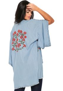 Kimono Jeans Colcci Loose Azul