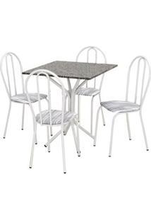 Jogo De Mesa E 04 Cadeiras Thais Com Tampo Granito Branca/Assento Linh