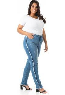 Calça Jeans Cigarrete Desfiada Plus Size Confidencial Extra Feminina - Feminino-Azul