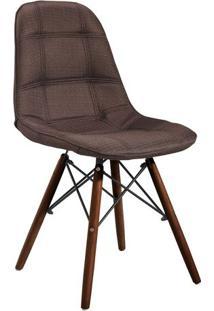 Cadeira Quadra- Marrom & Madeira Escura- 83X44X39Cm