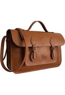 Bolsa Line Store Leather Satchel Média Couro Caramelo. - Kanui