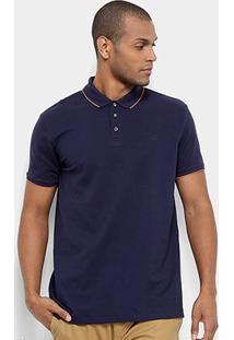 Camisa Polo Jab Piquet Friso Masculina - Masculino-Marinho