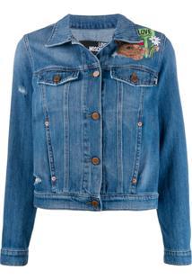 Love Moschino Jaqueta Jeans Com Bordado - Azul