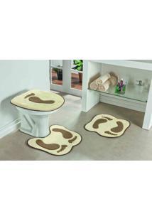 Tapete Jogo Banheiro Formato Pegada Palha Guga Tapetes