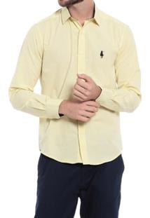 Camisa Club Polo Collection Slim Fit Amarelo