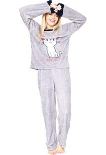 Pijama Any Any French Cat Cinza
