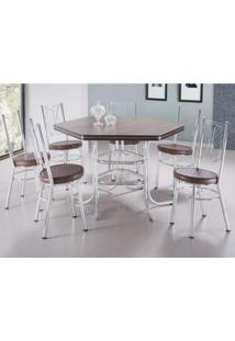 Conjunto Sala De Jantar Mesa Sextavada E 6 Cadeiras Canadá Móveis Brastubo Tabaco