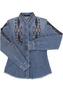 Camisa Jeans Feminina Tassa Gold Bordada - Feminino-Azul
