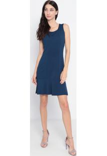 Vestido Liso Com Recorte- Azul Escuro- Maria Padilhamaria Padilha