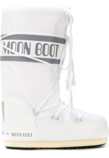 Moon Boot Logo Drawstring Boots - Branco