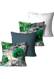 Kit Com 4 Capas Para Almofadas Pump Up Decorativas Flores E Folhas Estilo Desenho 45X45Cm