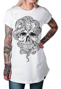 Camiseta Artseries Longline Crânio Com Cobra Stupid Man Branco