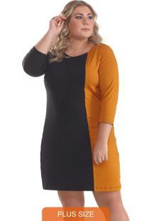 Vestido Plus Size Viscolycra Bicolor Mostarda