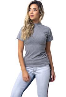 Camiseta Rb Moda Gola Alta Cinza Ref: 053