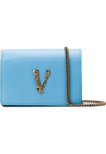 Versace Bolsa Transversal Virtus Mini - Azul