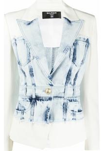 Balmain Blazer Com Recorte Jeans - Azul