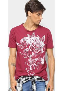 Camiseta Derek Ho Butterfly Skull Masculina - Masculino-Vinho