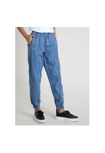 Calça Jeans Feminina Jogger Cintura Alta Com Bolsos Azul Médio