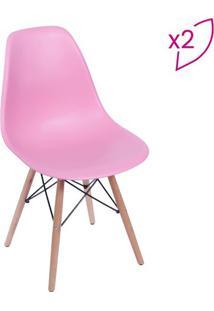 Jogo De Cadeiras Eames Dkr- Rosa & Madeira- 2Pã§Sor Design