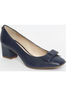 Sapato Tradicional Em Couro Com Laço- Azul Marinho- Jorge Bischoff