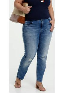 Calça Feminina Jeans Destroyed Plus Size Stretch Marisa