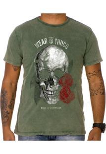 Camiseta Use Thuco Pink Skull Verde Estonado