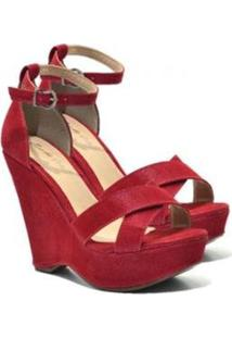 c264d3ed6 R$ 170,91. Zattini Sandália Com Salto Alto Com Salto Anabela Vermelha  Feminino-Vermelho ...