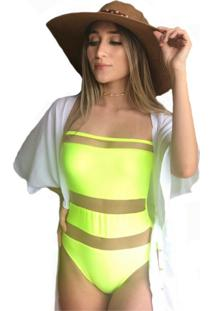 Maio Garota De Luxo Beachwear Com Tule Amarelo Florescente Multicolorido - Kanui