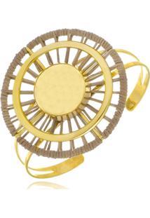 Bracelete Le Diamond Esferas Folheadas Com Couro - Dourado - Feminino - Dafiti