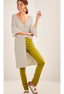 Calça Sarja Skinny Combate Cintura Média Verde