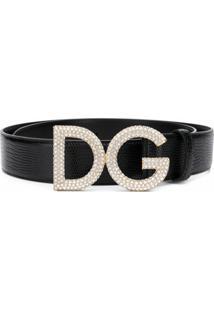 Dolce & Gabbana Cinto De Couro Com Logo - Preto