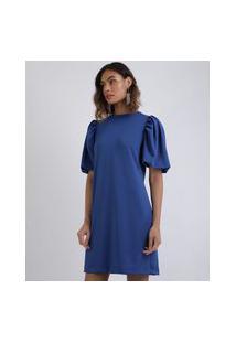 Vestido Feminino Mindset Curto Reto Manga Curta Bufante Azul