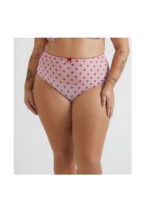 Calcinha Hot Pant Em Tule Com Estampa De Corações Curve & Plus Size | Ashua Curve E Plus Size | Rosa | G