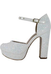 Sandália Week Shoes Salto Grosso Bico Redondo Glitter Furtacor Branco