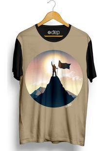 Camiseta Dep Homem Topo Da Montanha Marrom