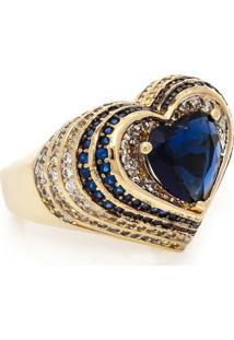 Anel Com Coracao De Cristal - Feminino-Azul