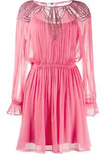Alberta Ferretti Pleated Mini Dress - Rosa