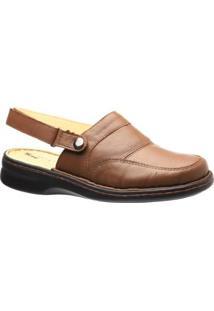 Sapato Conforto Couro Alça Reversível 371 Doctor Shoes Feminino - Feminino-Marrom