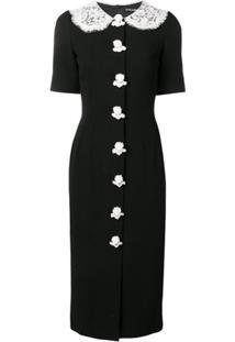 Dolce & Gabbana Vestido Midi Com Botões De Anjo - Preto